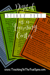 Are you looking for a partner game or learning center that will engage your students and keep them asking for more? Look no further than Digital Stinky Feet! While Stinky Feet is a great review game to play with the whole class it can be a powerful way for students to get practice with a partner.