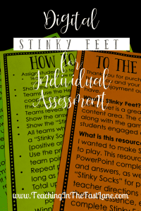 Are you looking for a creative, engaging way to assess your students? Give Digital Stinky Feet a try! This is the same game your students love to play wholegroup tweaked just a tiny bit to make the perfect independent assessment!