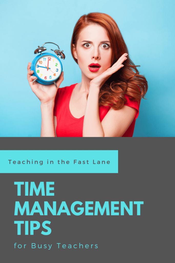 Blue background with read head holding clock and looking concerned. Title:Time Management Tips