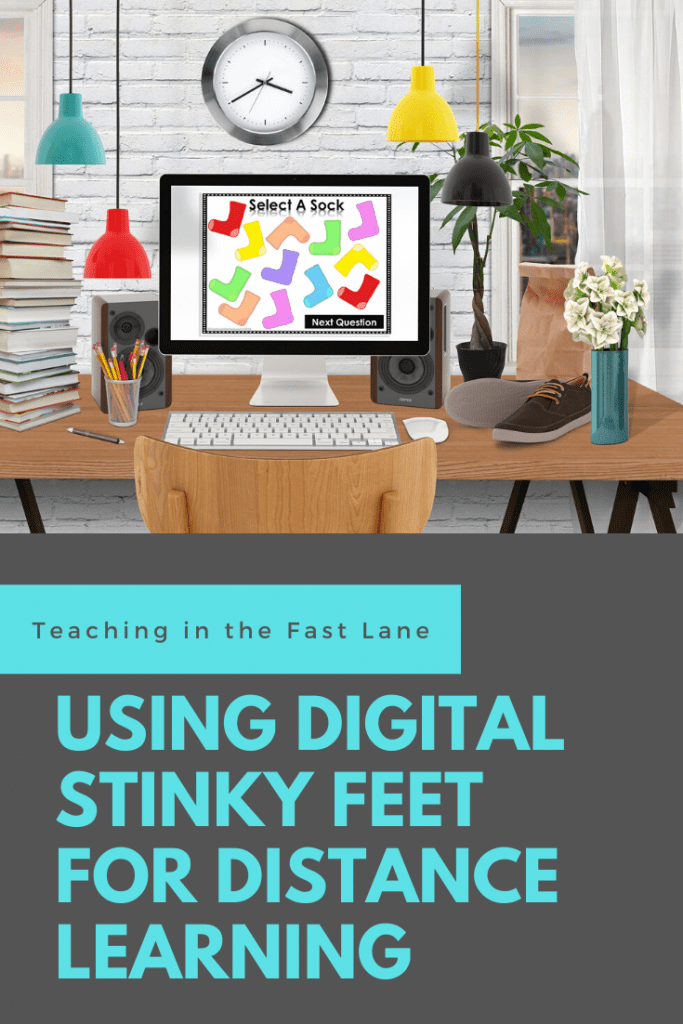 """Digital Stinky Feet socks displayed on a monitor sitting on a desk with title """"Using Digital Stinky Feet for Distance Learning"""""""
