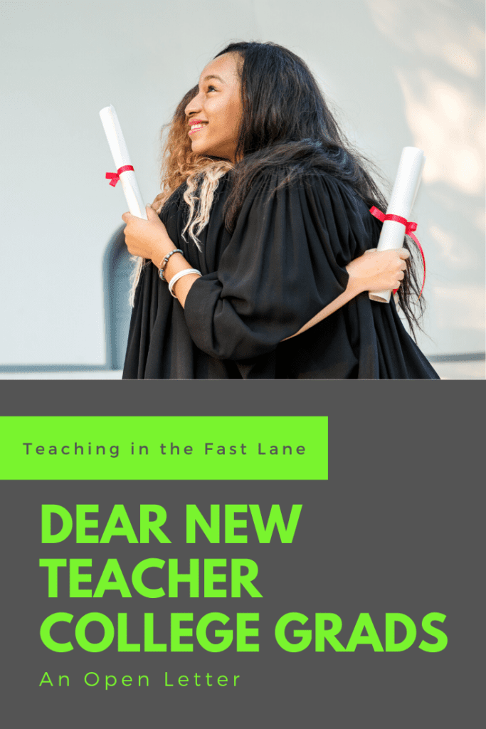 "Image of two graduates in gowns hugging with title, ""Dear New Teacher College Grads"""