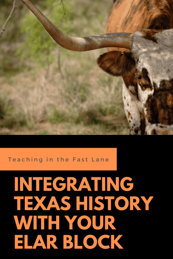 "Image of a Texas Longhorn with the title ""Integrating Texas History with your ELAR Block"""