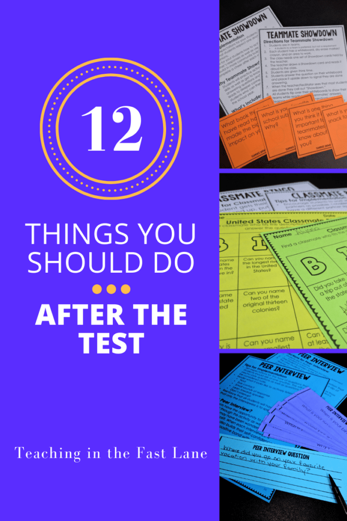 "3 Images of colorful activities on the right with the title ""12 Things You Should Do After the Test"" on a purple background."