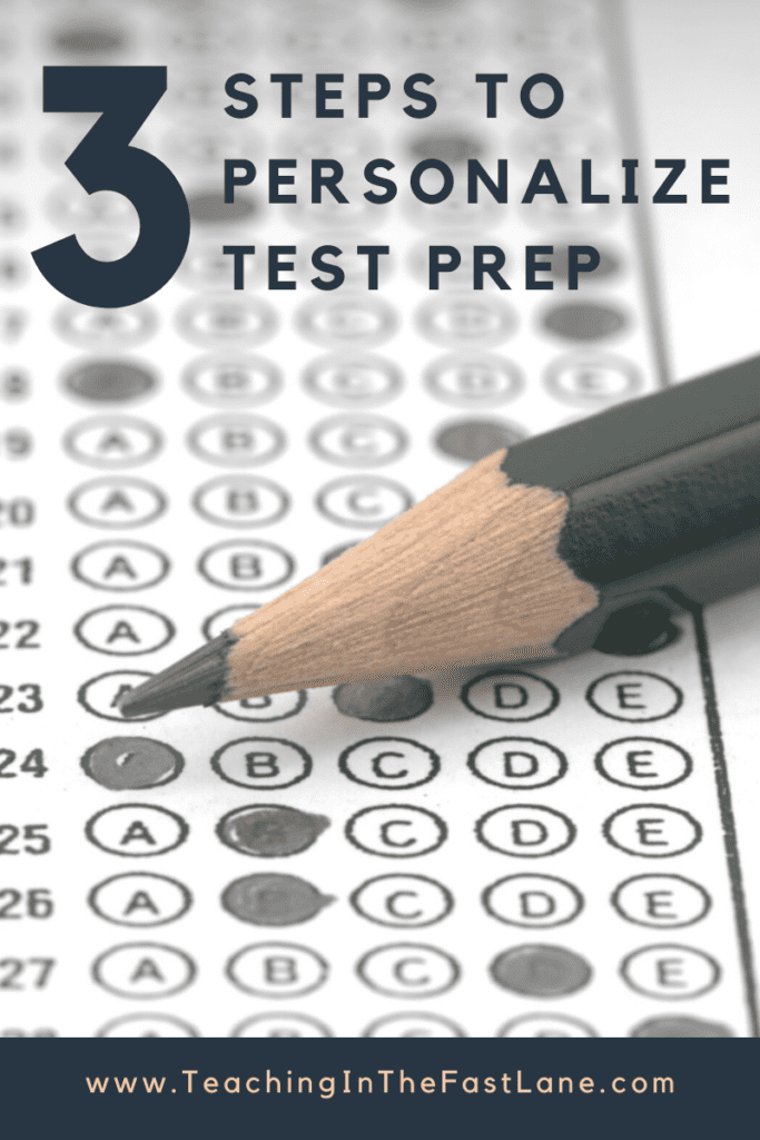 "Image of standardized test bubble sheet with pencil and title "" 3 Steps to Personalize Test Prep"" in black text."