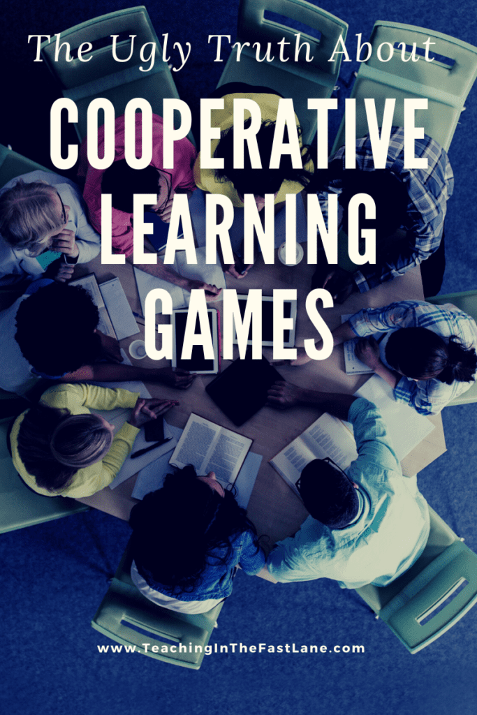 "Image of students working together in a circle with the title, ""The Ugly Truth About Cooperative Learning Review Games"""