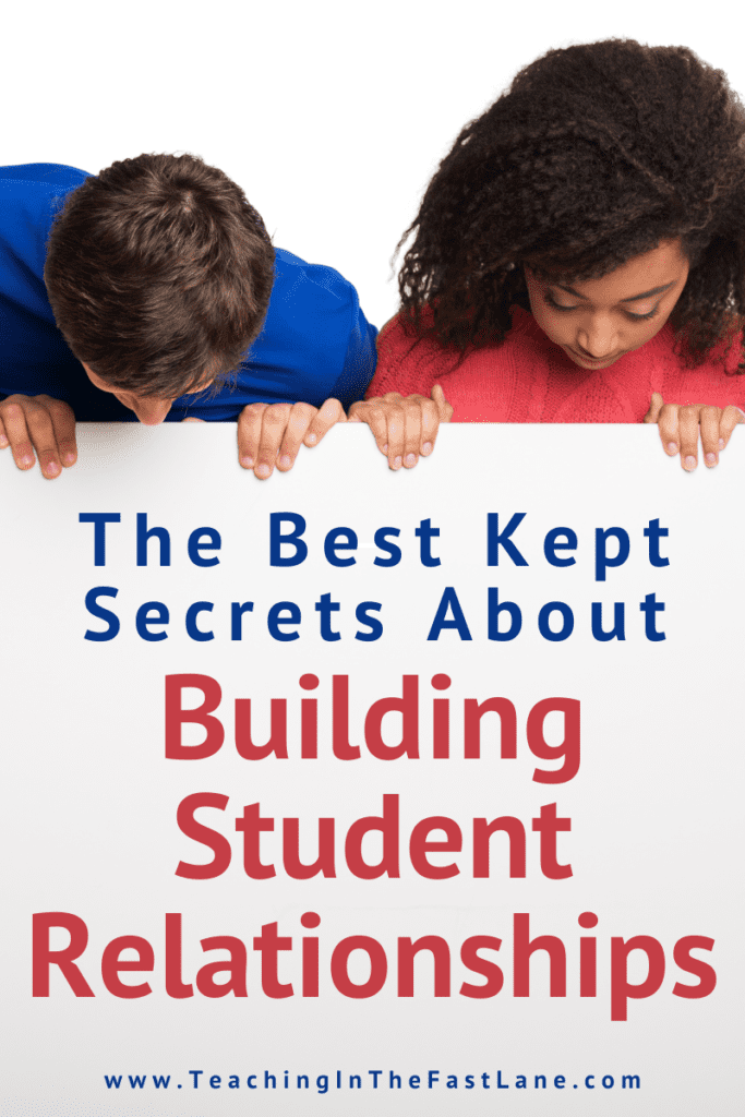 """Title """"The Best Kept Secrets About Building Student Relationships"""" on white poster background being held up by two kids looking down."""