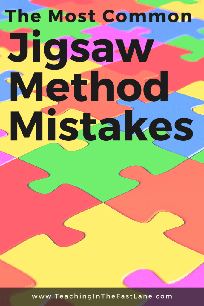 """Colorful jigsaw puzzle pieces in the background with the title, """" The Most Common Jigsaw Method Mistakes"""" in bold black lettering."""