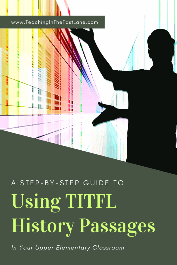 """Image of person's silhouette gesturing towards a colorful wall with title """"A step by step guide to Using TITFL History Passages"""""""